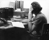Barbara Ziegler 1951 answering the phone to book carpet cleaning or rug cleaning in Danbury CT, Ridgefield CT,