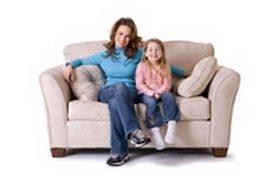 Family enjoying clean furniture
