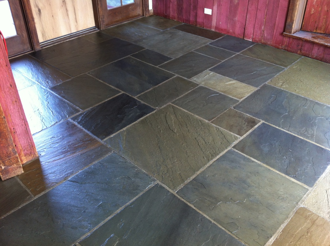 Slate floor cleaning ct tile floor refinishing restoration ct the years of wax have all but covered the floor up zieglers transformed this bluestone floor into an incredible show piece as you can see dailygadgetfo Images