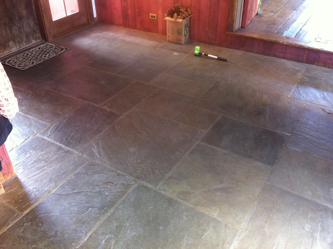 Slate floor cleaning ct tile floor refinishing restoration ct the example photos show a floor with a water based finish approximately 5 years old the amount of soil adhering to the uneven surface is evident dailygadgetfo Images