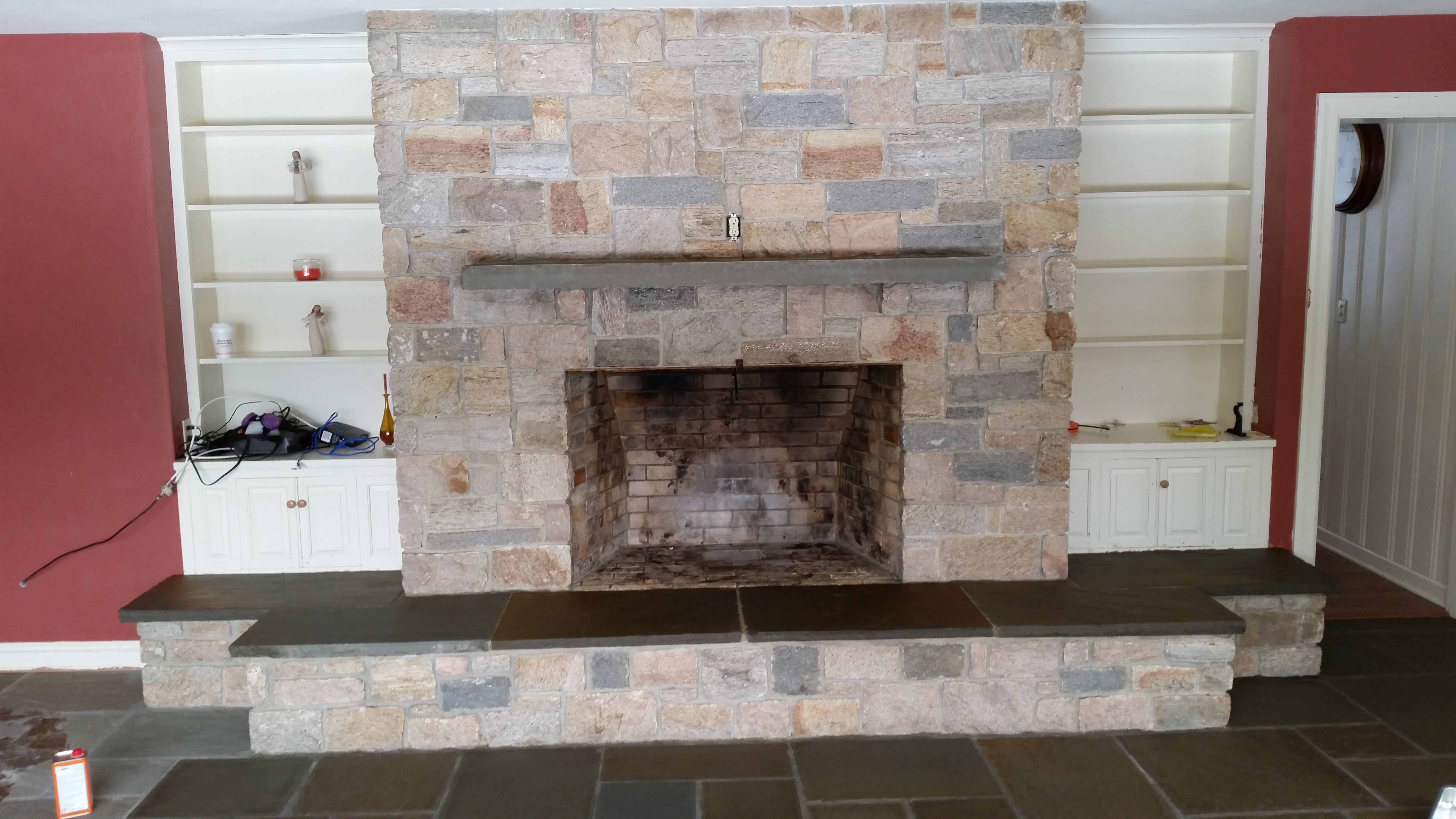 Ziegler S Was Hired To Re All The Bluestone Slate Floors In This Redding Ct Home Fireplace Added And Responded Well Restoration